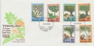 26/06/1985 Tokelau Islands FDC Trees, Fruits and Herbs set of 6 on illustrated official cover, unaddressed